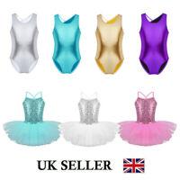 UK Girls Gymnastics Leotards Ballet Dance Dress Sequins Tutu Dancewear Costumes