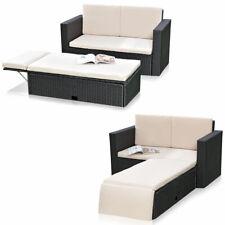 Gartensofa Polyrattan + klappbare Fußbank Lounge Sessel Gartenmöbel schwarz NEU