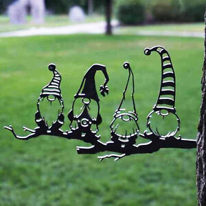 ART SILHOUETTE DECORATIVE EXQUISITE IRON EASTER BRANCH GNOMES GARDEN STAKE SMART