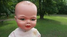 "VINTAGE! 16"" HARD PLASTIC & Vinyl BABY DOLL Marked UNEEDA DOLL CO  Molded Hair"
