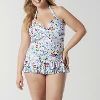 Tropical Escape Women's Plus One-Piece Halter Swimdress Swimsuit Size 18W NWT
