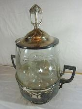 Jugendstil Bowle Service aus Glas, 3 Teile, versilberter Behälter mit Jugendstil