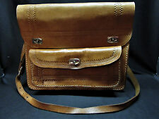 Vintage Medium Hand Tooled Brown Leather Messenger Satchel Handbag Hippie 12x10