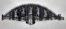 Vintage Sterling Silver Siam Thai Fan Bracelet Heavy Niello Ware w/ Gods 73 Gram