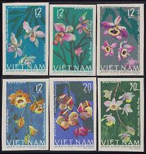 VIETNAM du NORD N°482/487** Non dentelés Fleurs, 1966, North Viet Nam Imperf