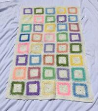 "Vintage Handmade Granny Square Afghan Throw Blanket Afgan 35x55"" Multicolor"