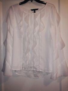 NWOT White House Black Market Long Sleeve White Silk Ruffle Top Size 4