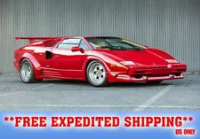 "LAMBORGHINI COUNTACH RED 24"" x 43""  LARGE HD WALL POSTER PRINT"