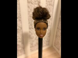 BARBIE DOLL HEAD ONLY FOR REPLACEMENT / OOAK AFRICAN AMERICAN AA Pulled back bun
