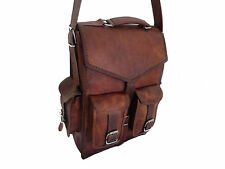 Genuine Leather Backpack Handmade Brown Shoulder Messenger Bag Rucksack Mens Bag