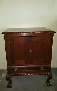 19th Century Ball and Claw Chippendale Solid Mahogany Cellarette Wine Cabinet