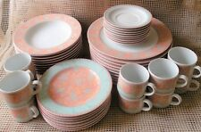 Oneida Terrazzo 47PC Dinner, Salad Plates & Coffee Cups Porcelain Service For 10