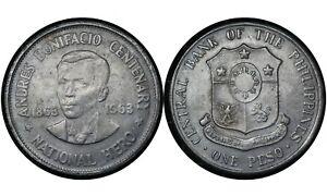 1 Peso 1963 Philippines 🇵🇭   Silver Coin /// Andres Bonifacio # 193