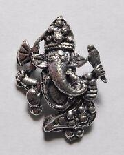 Hindu God Lord Ganesh Silver Coloured Pendant 23mm x 32mm (SP12)