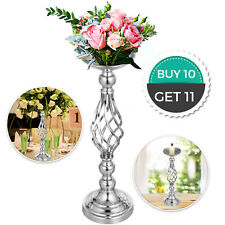 """10pcs Wedding Flower Stand Metal Candle Holder 18.6"""" Height Silver Centerpieces"""