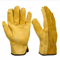 Working Cowhide Leather Gloves Safety Mechanics Industrial Garden Security