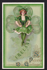 1911 Winsch Schmucker lady on Map Ireland gold emb. St.Patrick's day postcard