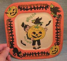 Old Halloween Plate-Pumpkins Owl-Bats-Boy-Jol-Black Cat