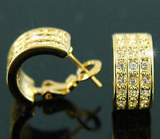 Gold Plated Huggie Earrings use Swarovski Crystal SE138