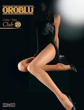 Oroblu Club 20 Pantyhose Tights L XL Black Sun Dore Sable