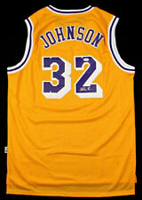 MAGIC JOHNSON Signed Yellow Jersey Los Angeles Lakers HOF PSA/DNA COA