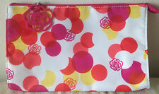 Lancome Cosmetic Makeup Travel Bag in Pink White with Large Rose Zipper Pull )