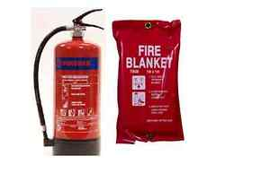 NEW, BUDGET, PACK OF 9KG ABC DRY POWDER FIRE EXTINGUISHER AND FIRE BLANKET
