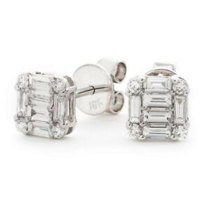 0.60ct F VS Baguette and Brilliant cut Diamond Earrings in 18ct White Gold