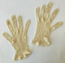 Pair Vintage Fishnet Crochet Gloves Small Size for Victorian Costume or Display