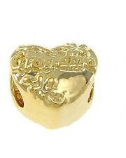 Bright Gold GRANDMA 10mm Scrolled Heart Large 4.5mm Hole European Charm Bead 1pc
