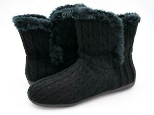 Vionic Womens Cozy Kari Black Cable Knit Faux Fur Pull On Casual Slipper Bootie