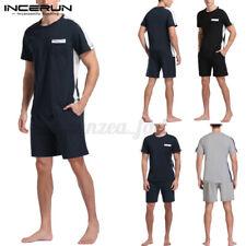 Летние мужские короткие рукава пижамы костюмы экипажа шеи топы и шорты пижамы пижамы