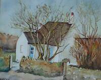 Quaint Country Cottage in Rural England Watercolour Painting Signed AM 1988