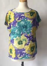 Vintage 1980s 1990s Purple Green Yellow Floral Top Baggy Summer Size 12 14 16