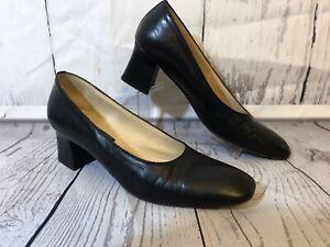 "Joel Parker Black Leather Shoes Italy 2.25"" Heel Pump Handmade In Italy Sz 10AA"