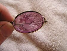 Antique Amethyst Glass Purple Cameo Art Deco Ornate