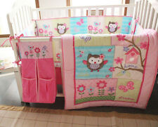 New 8 Pcs Baby Girls Nursery Crib Bedding Set Owl Quilt Bumper Sheet Dust Ruffle