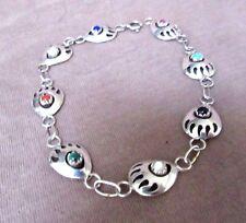 Navajo Multi-stone Bear Paw Sterling Silver Bracelet   JB0052