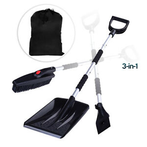 Zone Tech Snow Shovel Kit 3-in-1 Brush Ice Scraper Collapsible Removable Design