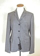 NWT Calvin Klein Three Button Gray Inseam 100% Wool Blazer Women 8/44 Italy