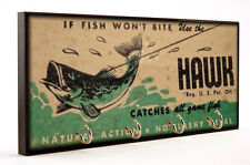 Vintage Hawk Lures Catches All Game Fish Package Design Dog Leash or Key Hanger