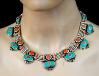 Asian Ethnic Sterling Silver Necklace Tribal Handmade Turquoise Jewelry SAK25