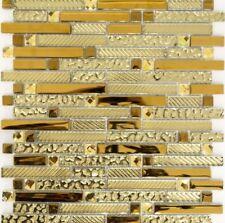 Glasmosaik mix Glas/gold Fliesenspiegel Küche Verblender Art:86-0107 | 10 Matten