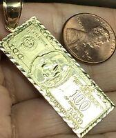 """GOLD $ $100 One Hundred Dollar Money Pendant 10K good luck lucky charm 3.8g 2"""""""