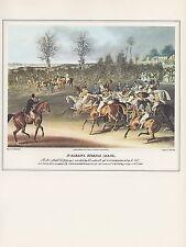 "1974 Vintage HORSE RACE ""ST. ALBANS STEEPLE CHASE"" COLOR Art Print Lithograph"