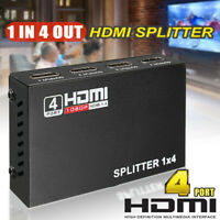 Full HD HDMI 4-Port Splitter 1X4 Hub Repeater Amplifier v1.4 3D 1080p 1 In 4 Out