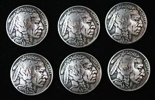 "(6) BUFFALO NICKEL CONCHO / BUTTONS/ (FULLY DATED) ""INDIAN HEAD""  (REAL)"