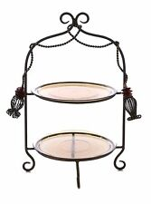 """Tassel Design Plate Stand w/ 2 Amber Color Glass Plates-19.5""""H X 9.5""""D"""