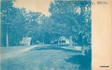 C-1910 Cyanotype Quincy Branch Cabins Michigan RPPC Real photo  4873