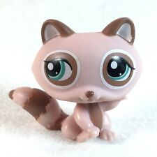 Littlest Pet Shop - #1409 Pink Brown Raccoon w/ Blue Eyes - LPS Collectible